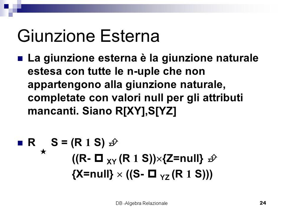 DB -Algebra Relazionale24 Giunzione Esterna La giunzione esterna è la giunzione naturale estesa con tutte le n-uple che non appartengono alla giunzione naturale, completate con valori null per gli attributi mancanti.