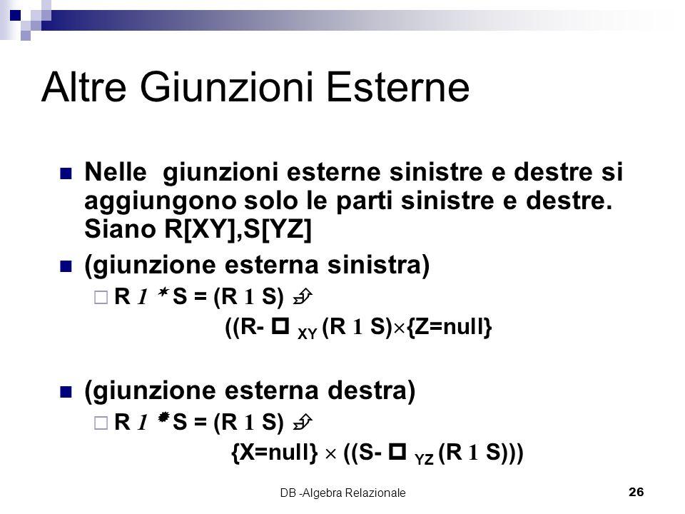 DB -Algebra Relazionale26 Altre Giunzioni Esterne Nelle giunzioni esterne sinistre e destre si aggiungono solo le parti sinistre e destre.