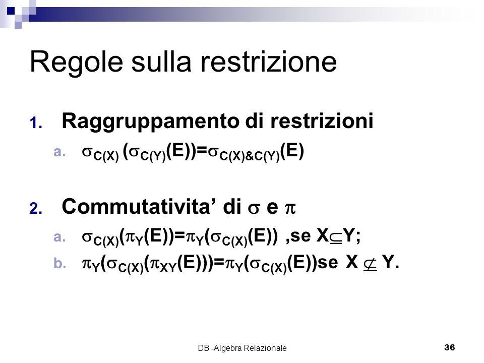 DB -Algebra Relazionale36 Regole sulla restrizione 1.