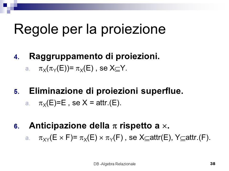 DB -Algebra Relazionale38 Regole per la proiezione 4.