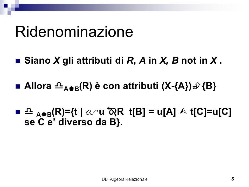 DB -Algebra Relazionale5 Ridenominazione Siano X gli attributi di R, A in X, B not in X.