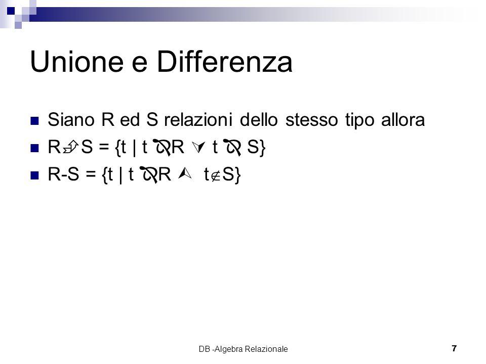 DB -Algebra Relazionale7 Unione e Differenza Siano R ed S relazioni dello stesso tipo allora R S = {t | t R t S} R-S = {t | t R t S}
