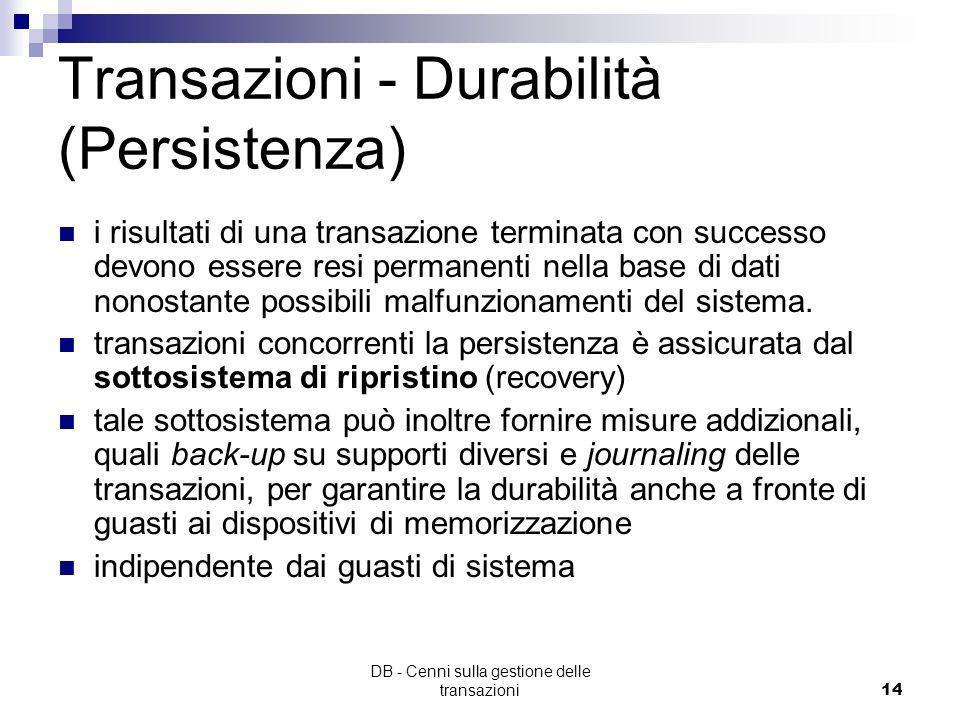 DB - Cenni sulla gestione delle transazioni13 Transazione - Isolamento (2/2) Richiede che ogni transazione venga eseguita indipendentemente dallesecuz
