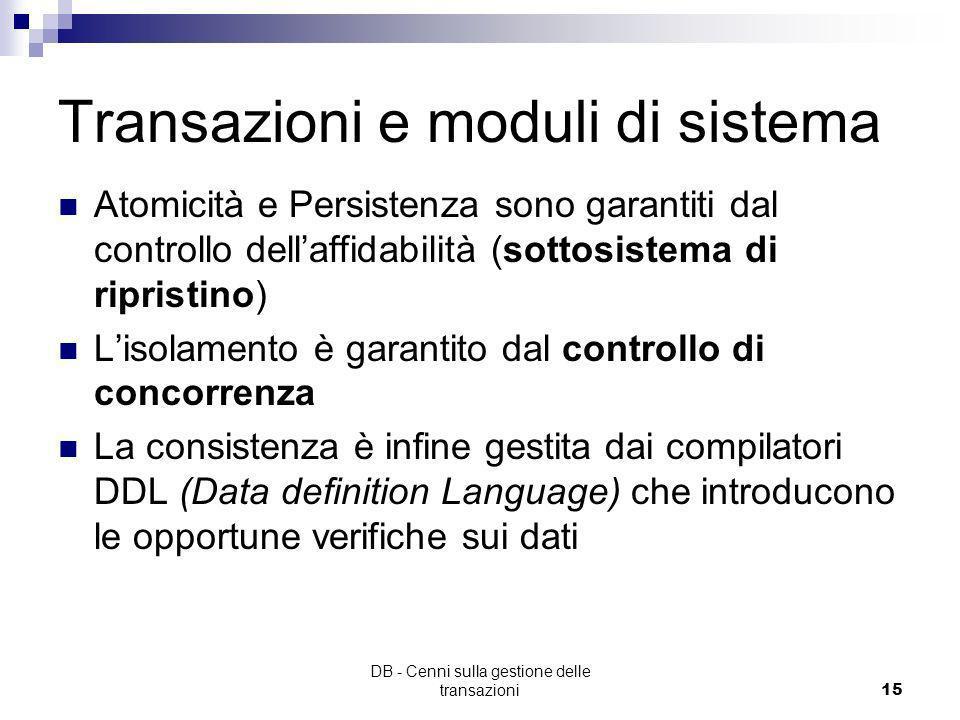 DB - Cenni sulla gestione delle transazioni14 Transazioni - Durabilità (Persistenza) i risultati di una transazione terminata con successo devono esse
