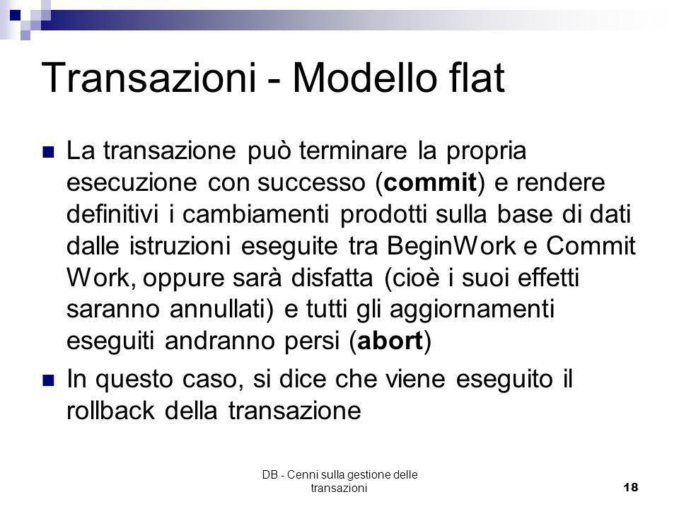DB - Cenni sulla gestione delle transazioni17 Transazioni - Modello flat Facciamo riferimento al modello di transazioni più semplice (transazioni flat