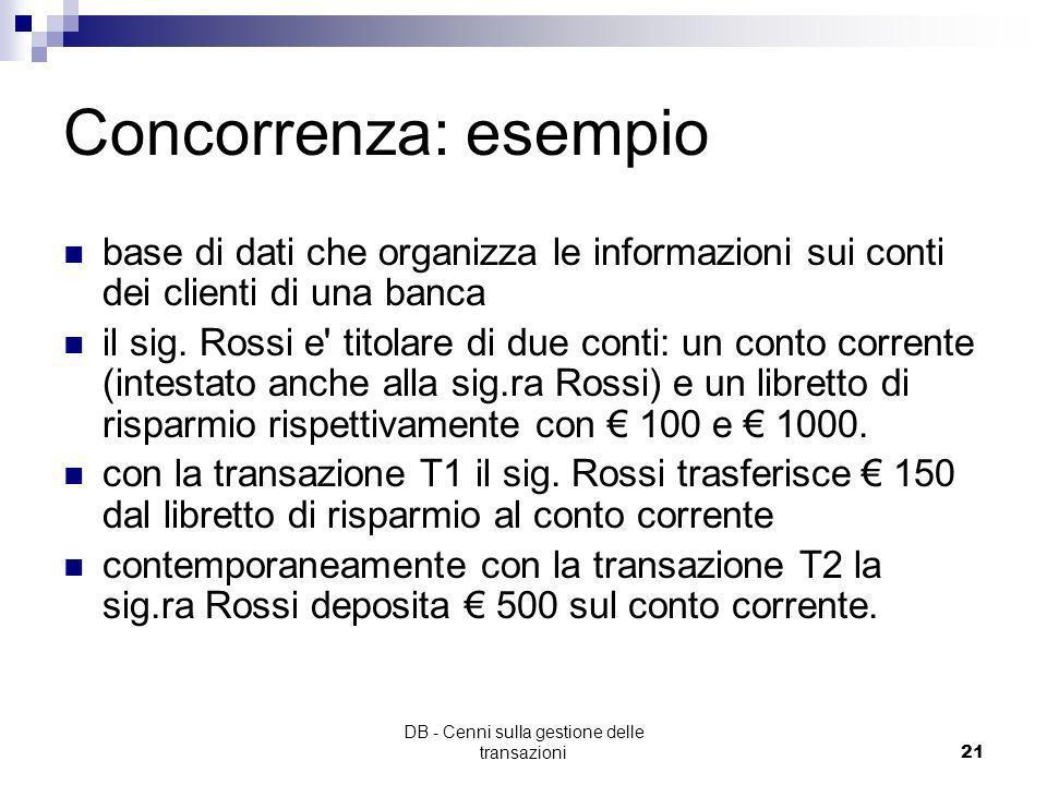 DB - Cenni sulla gestione delle transazioni20 Controllo della concorrenza Scopo: Garantire l'integrità della base di dati in presenza di accessi conco