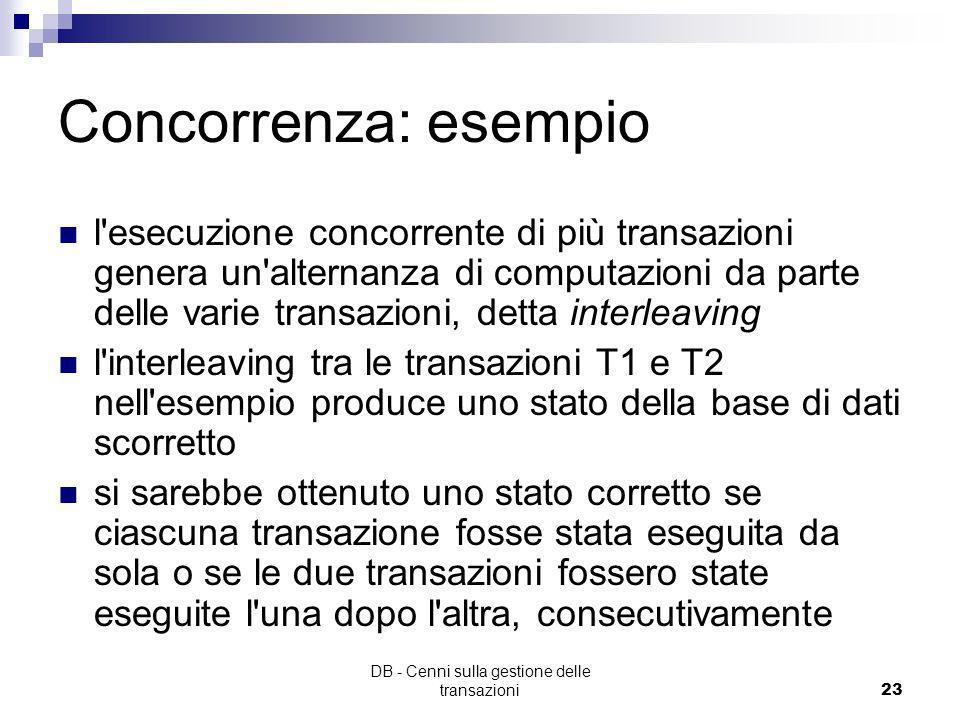 DB - Cenni sulla gestione delle transazioni22 Concorrenza: esempio T1 Read(Lr) Lr = Lr - 150 Write(Lr) Read(Cc) Cc = Cc + 150 Write(Cc) Commit T2 Read