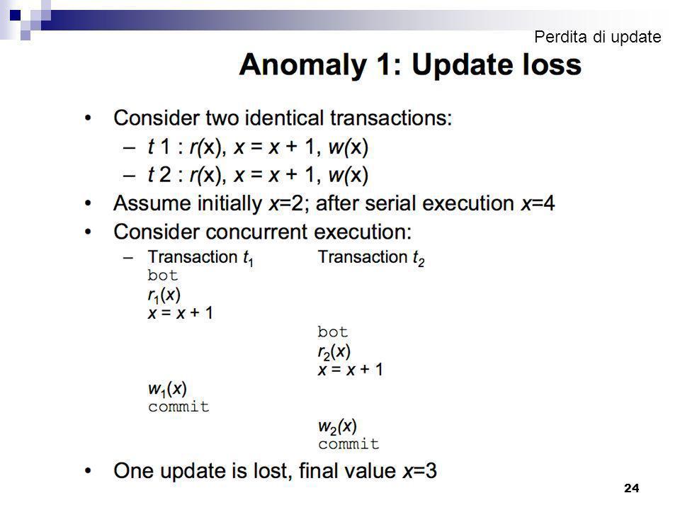 DB - Cenni sulla gestione delle transazioni23 Concorrenza: esempio l'esecuzione concorrente di più transazioni genera un'alternanza di computazioni da