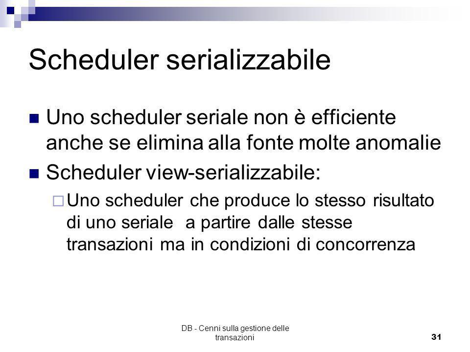 DB - Cenni sulla gestione delle transazioni30 Schedule: Rappresenta la sequenza di operazioni I/O presentate da transazioni concorrenti esempio: S :r
