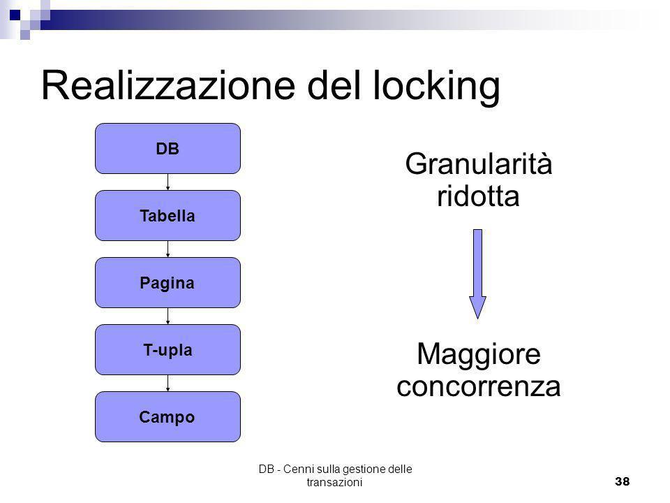 DB - Cenni sulla gestione delle transazioni37 Varianti two-phase locking Strict two-phase locking: I lock vengono rilasciati solo al commit Conservati