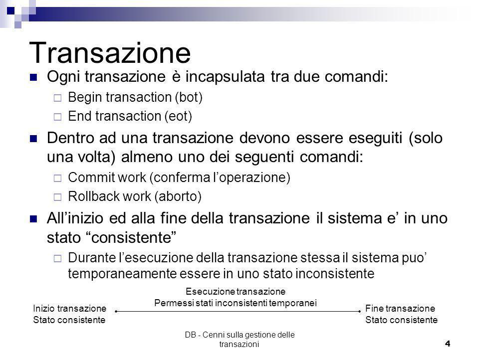 DB - Cenni sulla gestione delle transazioni3 Transazioni Per mantenere le informazioni consistenti è necessario controllare opportunamente le sequenze
