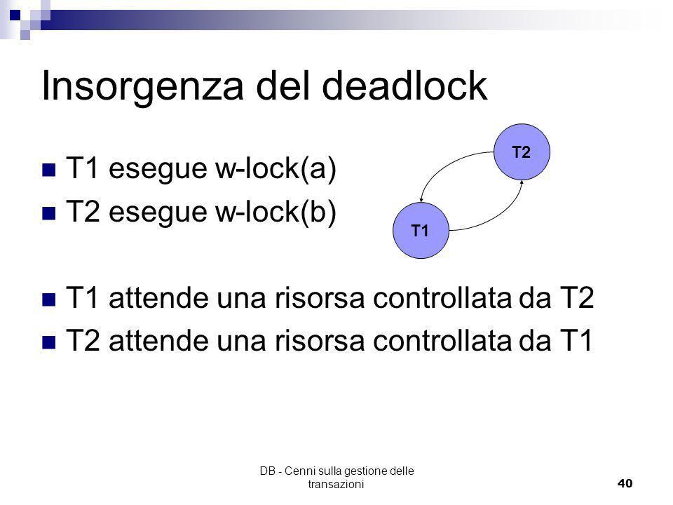 DB - Cenni sulla gestione delle transazioni39 Problema del deadlock T1 w-lock(a) w-lock(b) read/write(a) read/write(b) unlock(a) unlock(b) T2 w-lock(b