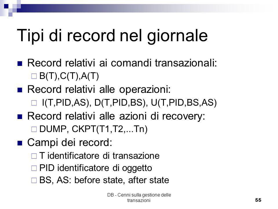 DB - Cenni sulla gestione delle transazioni54 Tipi di record del giornale Record relativi ai comandi transazionali: BEGIN, COMMIT, ABORT Record relati