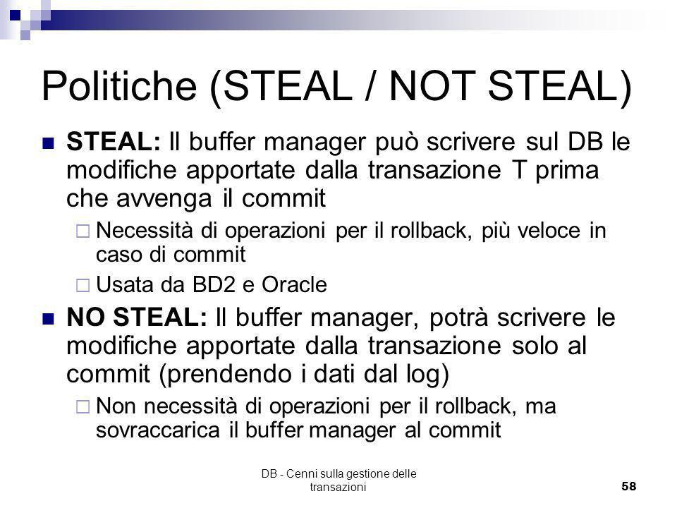 DB - Cenni sulla gestione delle transazioni57 Esempio roll-back
