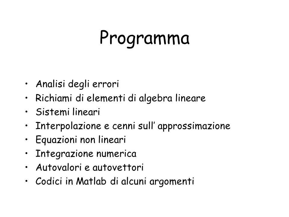Programma Analisi degli errori Richiami di elementi di algebra lineare Sistemi lineari Interpolazione e cenni sull approssimazione Equazioni non linea