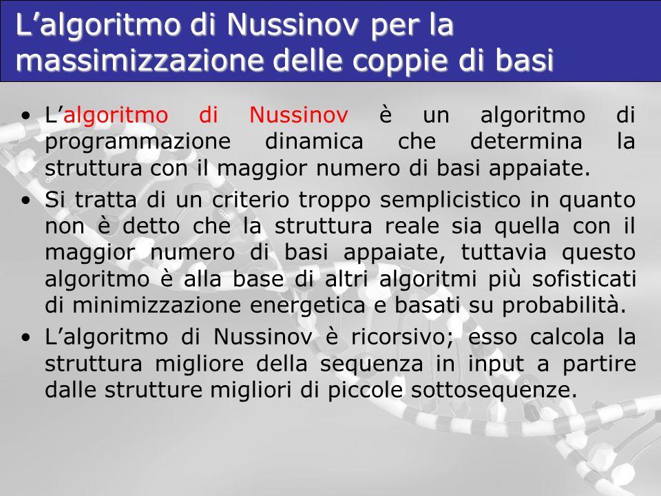 Lalgoritmo di Nussinov per la massimizzazione delle coppie di basi Lalgoritmo di Nussinov è un algoritmo di programmazione dinamica che determina la s