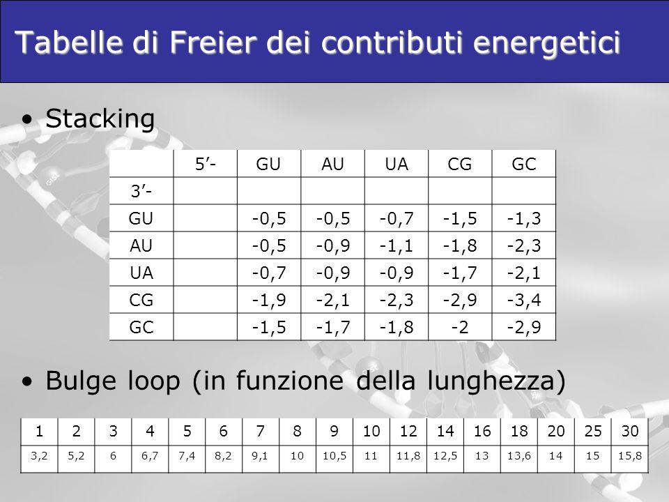 Tabelle di Freier dei contributi energetici Stacking Bulge loop (in funzione della lunghezza) 5-GUAUUACGGC 3- GU-0,5 -0,7-1,5-1,3 AU-0,5-0,9-1,1-1,8-2