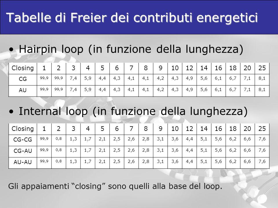 Tabelle di Freier dei contributi energetici Hairpin loop (in funzione della lunghezza) Internal loop (in funzione della lunghezza) Gli appaiamenti clo