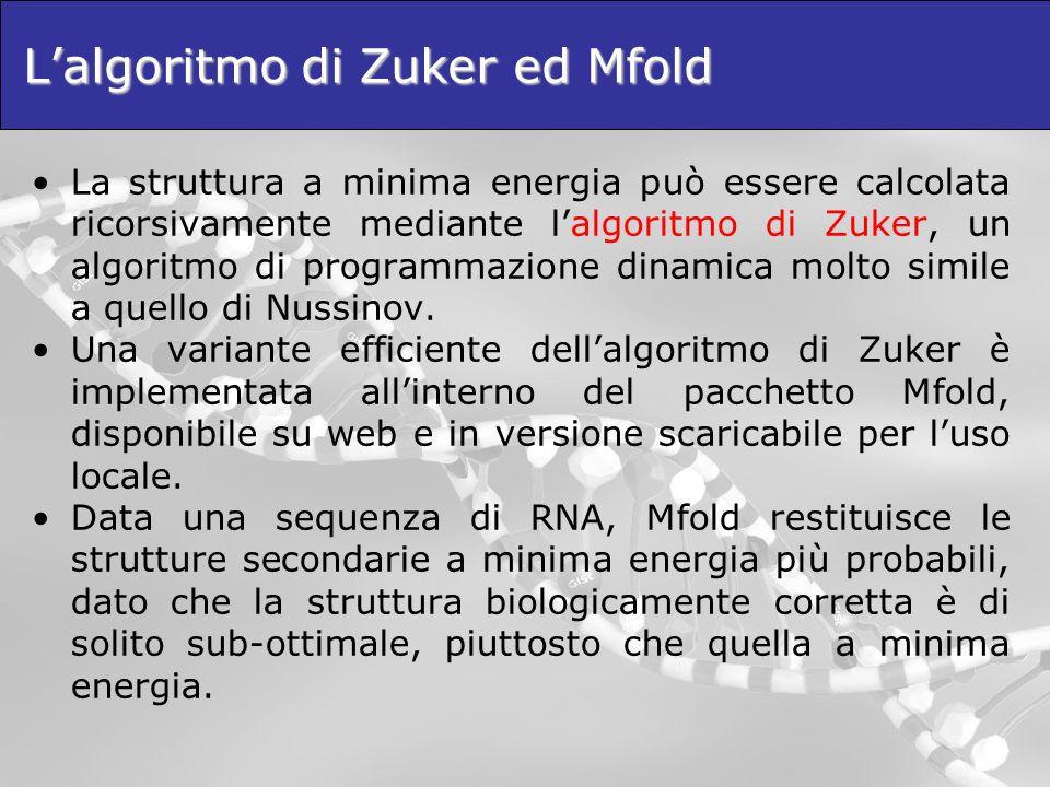 Lalgoritmo di Zuker ed Mfold La struttura a minima energia può essere calcolata ricorsivamente mediante lalgoritmo di Zuker, un algoritmo di programma