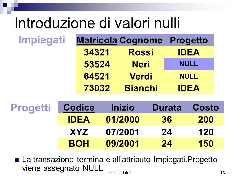 Basi di dati II19 Introduzione di valori nulli Impiegati Matricola 34321 64521 53524 Cognome Rossi Neri Verdi Progetto IDEA XYZ NULL 73032BianchiIDEA Progetti Codice IDEA BOH XYZ Inizio 01/2000 07/2001 09/2001 Durata 36 24 Costo 200 120 150 XYZ07/200124120 XYZ07/200124120 XYZ07/200124120 NULL La transazione termina e allattributo Impiegati.Progetto viene assegnato NULL