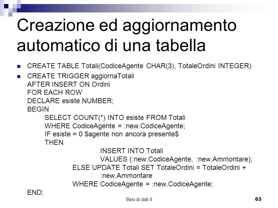 Basi di dati II63 Creazione ed aggiornamento automatico di una tabella CREATE TABLE Totali(CodiceAgente CHAR(3), TotaleOrdini INTEGER) CREATE TRIGGER aggiornaTotali AFTER INSERT ON Ordini FOR EACH ROW DECLARE esiste NUMBER; BEGIN SELECT COUNT(*) INTO esiste FROM Totali WHERE CodiceAgente = :new.CodiceAgente; IF esiste = 0 $agente non ancora presente$ THEN INSERT INTO Totali VALUES (:new.CodiceAgente, :new.Ammontare); ELSE UPDATE Totali SET TotaleOrdini = TotaleOrdini + :new.Ammontare WHERE CodiceAgente = :new.CodiceAgente; END;