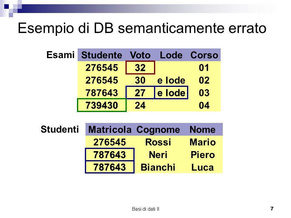 Basi di dati II7 Esempio di DB semanticamente errato StudenteVotoLodeCorso 3201276545 30e lode02 78764327e lode03 7394302404 Esami Matricola 276545 787643 Cognome Rossi Neri Bianchi Nome Mario Piero Luca Studenti 787643 32 27e lode 739430