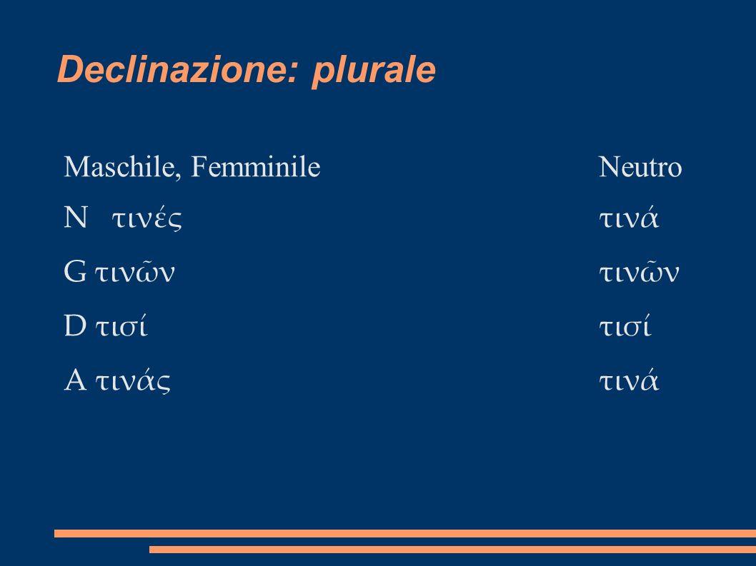 Declinazione: plurale Maschile, FemminileNeutro N τινςτιν G τινντινν D τιστισ A τινςτιν