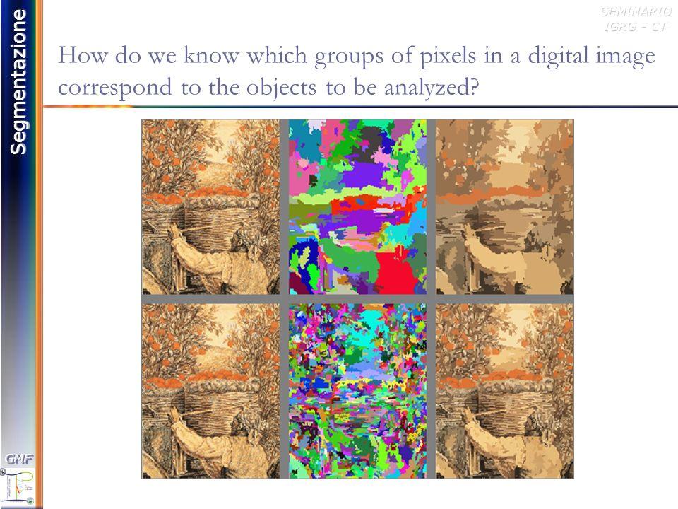 Segmentazione GMFGMFSEMINARIO IGRG - CT Threshold Selection: Peak and Valley method Histogramma (h): distribuzione di frequenza dei livelli di grigio presenti nellimmagine I rc (i,j) hI(g) = numero di pixel in I rc il cui livello di grigio è g 1.