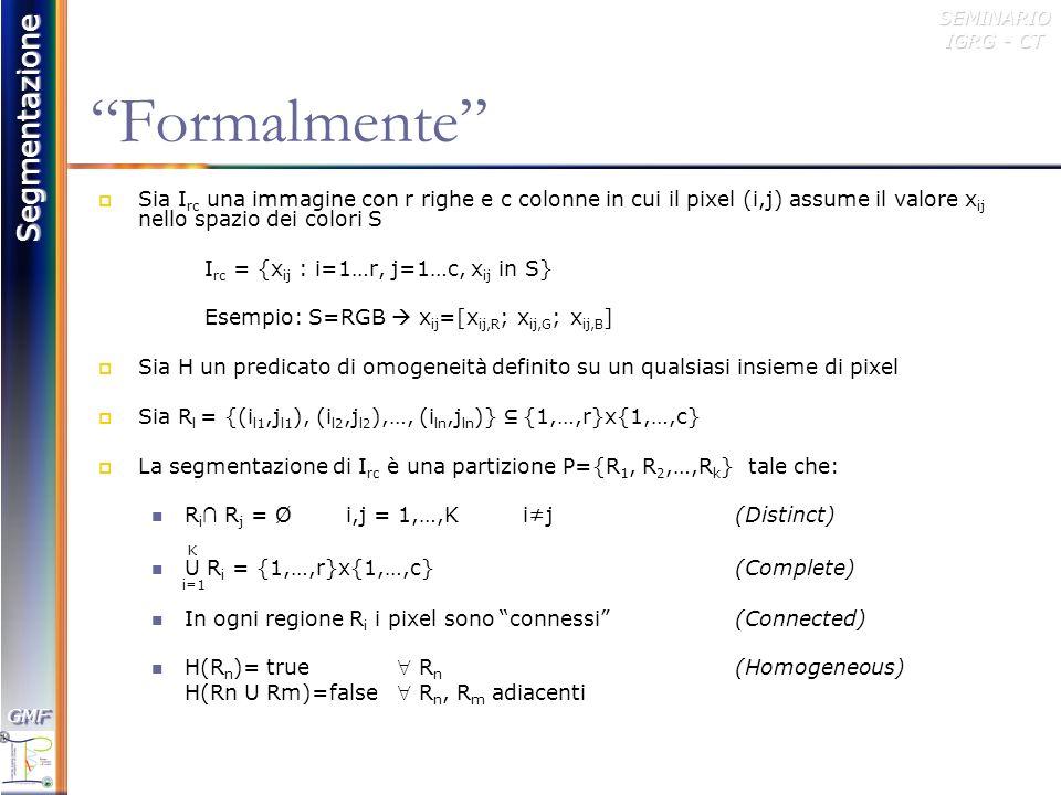Segmentazione GMFGMFSEMINARIO IGRG - CT Esempio AC B D EF G H G=(V,E) V= {A, B, C, D, E, F, G, H} E= {(A,C), (A,B), (B,C), (D,E), (E,F), (F,G) } ABCDEFGH A01100000 B10100000 C11000000 D00001000 E00010100 F00001010 G00000100 H00000000 Matrice di Adiacenza (possibile rappresentazione)