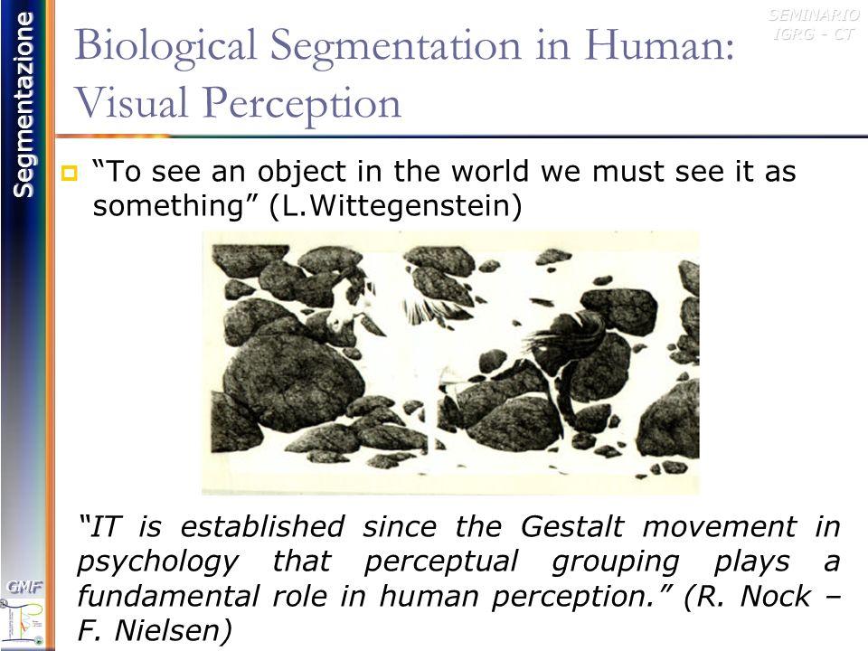 Segmentazione GMFGMFSEMINARIO IGRG - CT Visual Perception primo stadio dellelaborazione dellinformazione che si conclude con la Percezione: Input Ambientale (Stimolo) Registro Sensoriale (Stimolo, Organi di Senso) Selezione Tramite Attenzione Selettiva dellinput Interessante Percezione-Riconoscimento Human Visual Perception (Pre-Atentive) is governed by Gestalt Principles