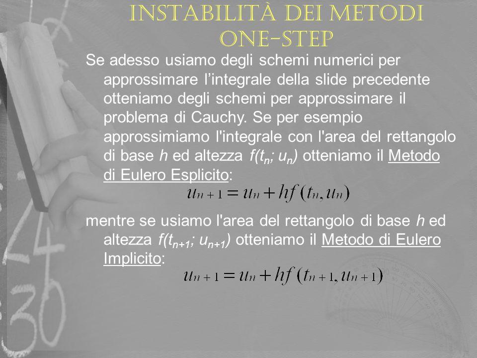 Instabilità dei metodi one-step Utilizzando la stessa tecnica si possono ottenere anche metodi così detti a più passi, cioè in cui il valore di u n+1 dipende non solo da un u n, ma anche dagli altri valori { u n-1, u n-2,.…., u n-q } calcolati precedentemente.