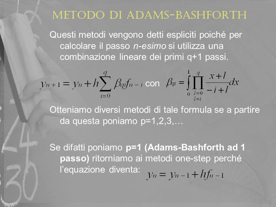 Metodo di adams-bashforth Se poniamo p=2 (Adams-Bashforth a 2 passi) : Ovvero, per trovare il passo (n+1)-esimo vengono utilizzati i valori trovati al passo n-2 ed n-1.