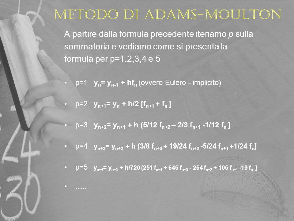 METODO DI ADAMS-MOULTON Poiché si tratta di un metodo implicito dove ad ogni passo è richiesta la soluzione di un equazione non lineare, è necessario trovare un metodo per risolvere le equazioni non lineari: ad esempio nel metodo di Eulero Implicito la soluzione è data dalla formula: y n+1 = y n + h*f(t n+1,y n+1 ) dunque y n+1 è la soluzione dellequazione ad ogni passo: y n+1 - y n - h*f(t n+1,y n+1 ) = 0 Se f ha una forma semplice si può risolvere facilmente y n+1 altrimenti è necessario ricorrere ad un metodo per la risoluzione di equazioni non lineari.