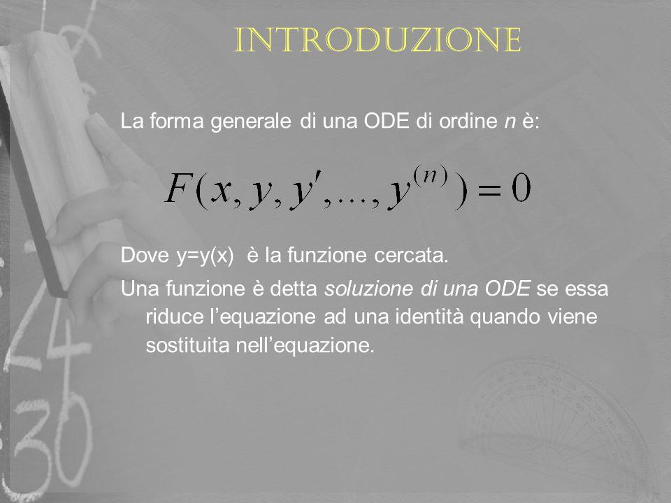 La forma generale di una ODE di ordine n è: Dove y=y(x) è la funzione cercata. Una funzione è detta soluzione di una ODE se essa riduce lequazione ad