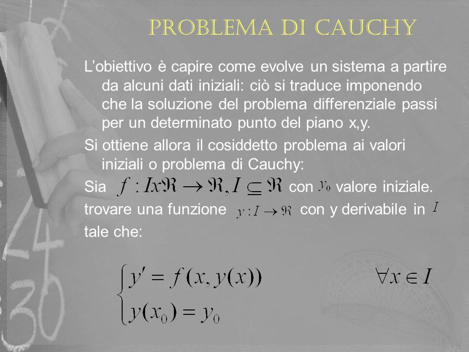 Problema di Cauchy Lobiettivo è capire come evolve un sistema a partire da alcuni dati iniziali: ciò si traduce imponendo che la soluzione del problem