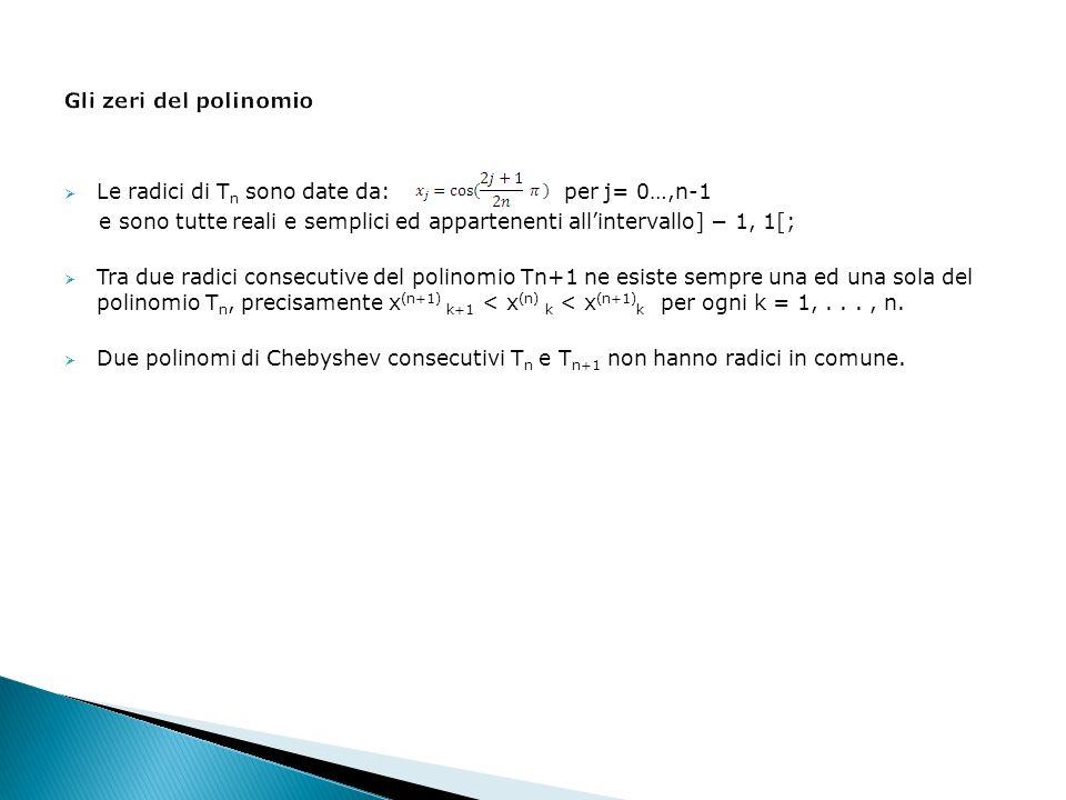 Le radici di T n sono date da: per j= 0…,n-1 e sono tutte reali e semplici ed appartenenti allintervallo] 1, 1[; Tra due radici consecutive del polinomio Tn+1 ne esiste sempre una ed una sola del polinomio T n, precisamente x (n+1) k+1 < x (n) k < x (n+1) k per ogni k = 1,..., n.