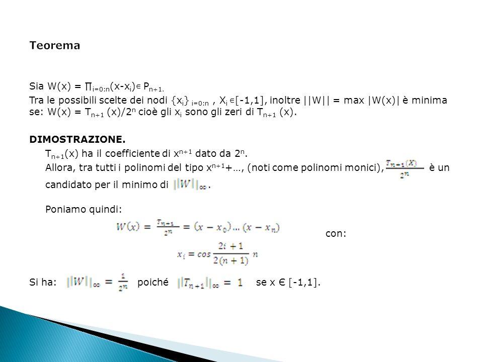 Sia W(x) = i=0:n (x-x i ) P n+1. Tra le possibili scelte dei nodi {x i } i=0:n, X i [-1,1], inoltre ||W|| = max |W(x)| è minima se: W(x) = T n+1 (x)/2