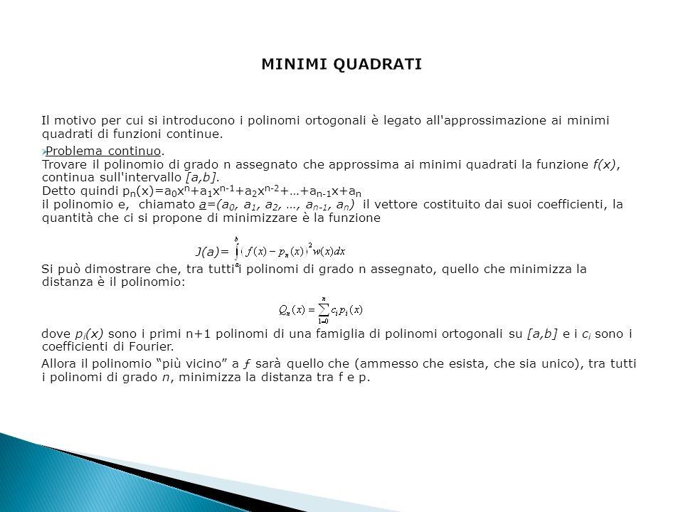 Il motivo per cui si introducono i polinomi ortogonali è legato all'approssimazione ai minimi quadrati di funzioni continue. Problema continuo. Trovar