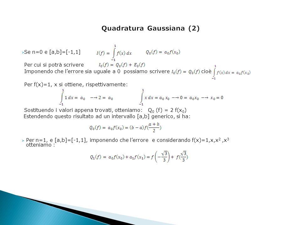 Se n=0 e [a,b]=[-1,1] Per cui si potrà scrivere Imponendo che lerrore sia uguale a 0 possiamo scrivere cioè Per f(x)=1, x si ottiene, rispettivamente: Sostituendo i valori appena trovati, otteniamo: Q 0 (f) = 2 f(x 0 ) Estendendo questo risultato ad un intervallo [a,b] generico, si ha: Per n=1, e [a,b]=[-1,1], imponendo che lerrore e considerando f(x)=1,x,x 2,x 3 otteniamo :