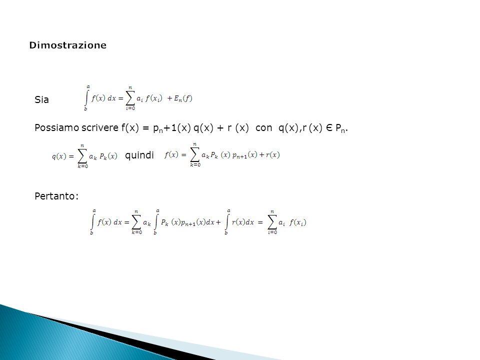 Sia Possiamo scrivere f(x) = p n +1(x) q(x) + r (x) con q(x),r (x) Є P n. quindi Pertanto: