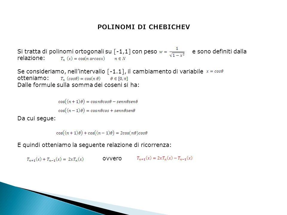 Si tratta di polinomi ortogonali su [-1,1] con peso e sono definiti dalla relazione: Se consideriamo, nellintervallo [-1.1], il cambiamento di variabile otteniamo: Dalle formule sulla somma dei coseni si ha: Da cui segue: E quindi otteniamo la seguente relazione di ricorrenza: ovvero