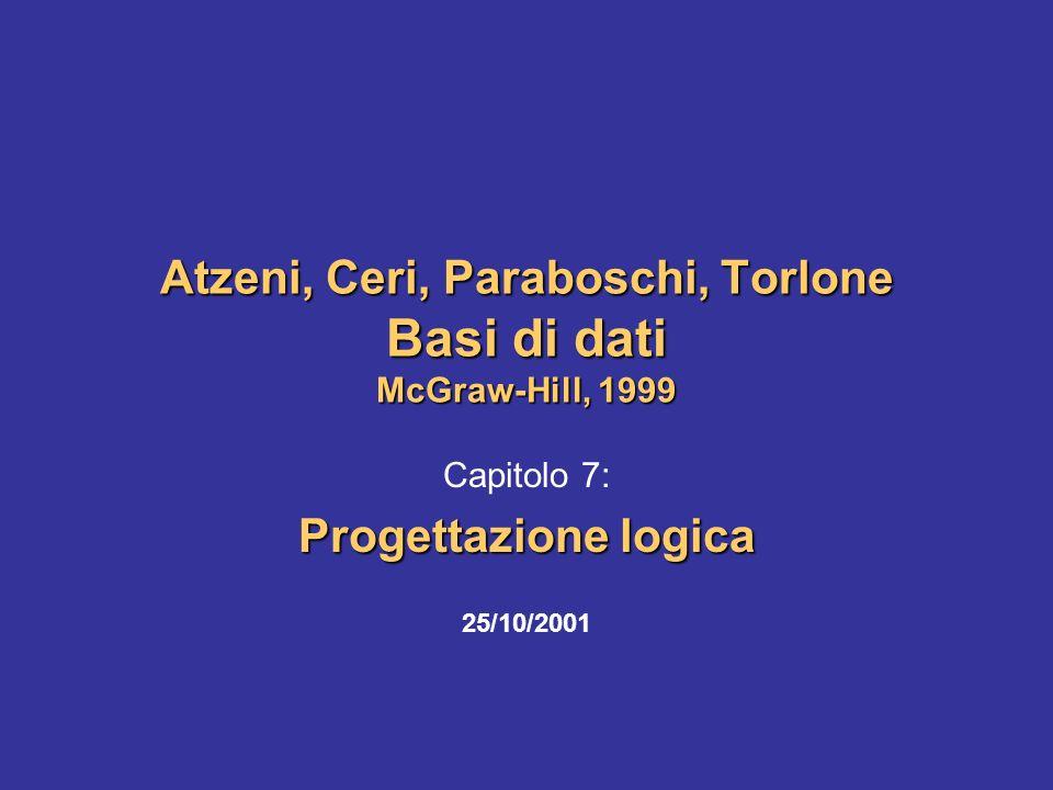 Atzeni-Ceri-Paraboschi-Torlone, Basi di dati, Capitolo 7 2 Progettazione fisica Schema concettuale Requisiti della base di dati Progettazione logica Schema logico Schema fisico Progettazione concettuale