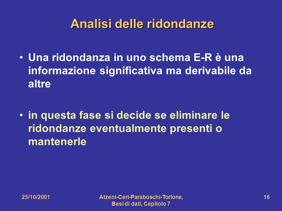 25/10/2001Atzeni-Ceri-Paraboschi-Torlone, Basi di dati, Capitolo 7 16 Analisi delle ridondanze Una ridondanza in uno schema E-R è una informazione sig