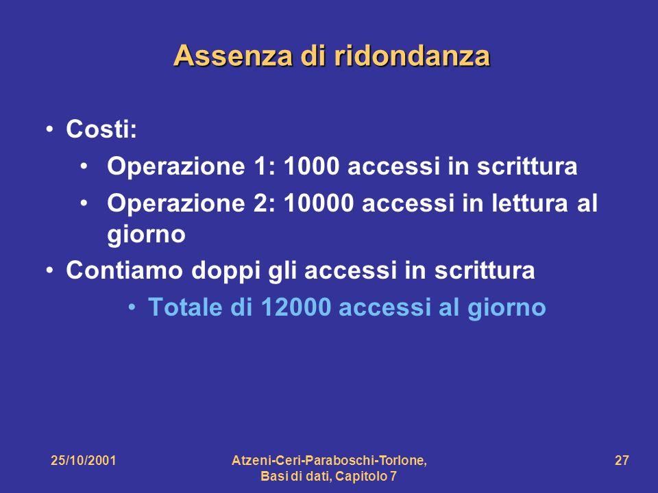 25/10/2001Atzeni-Ceri-Paraboschi-Torlone, Basi di dati, Capitolo 7 27 Assenza di ridondanza Costi: Operazione 1: 1000 accessi in scrittura Operazione