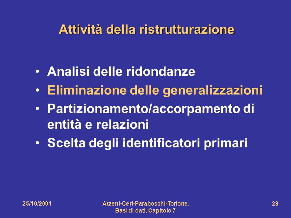 25/10/2001Atzeni-Ceri-Paraboschi-Torlone, Basi di dati, Capitolo 7 28 Attività della ristrutturazione Analisi delle ridondanze Eliminazione delle gene
