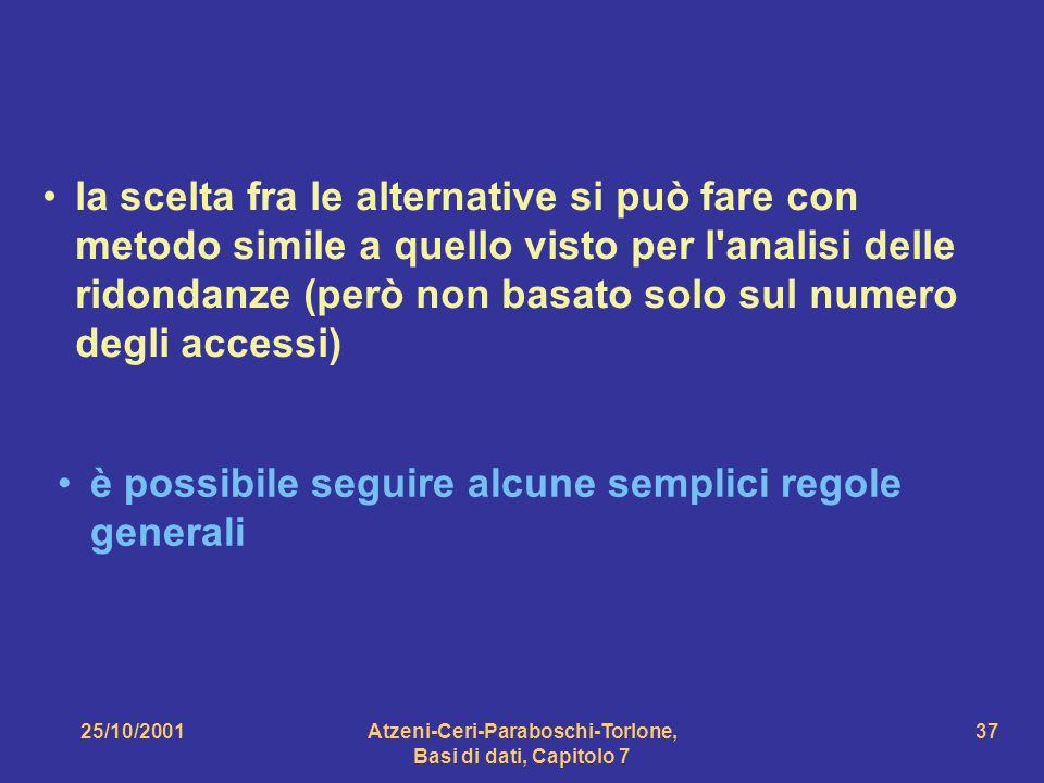 25/10/2001Atzeni-Ceri-Paraboschi-Torlone, Basi di dati, Capitolo 7 37 la scelta fra le alternative si può fare con metodo simile a quello visto per l'