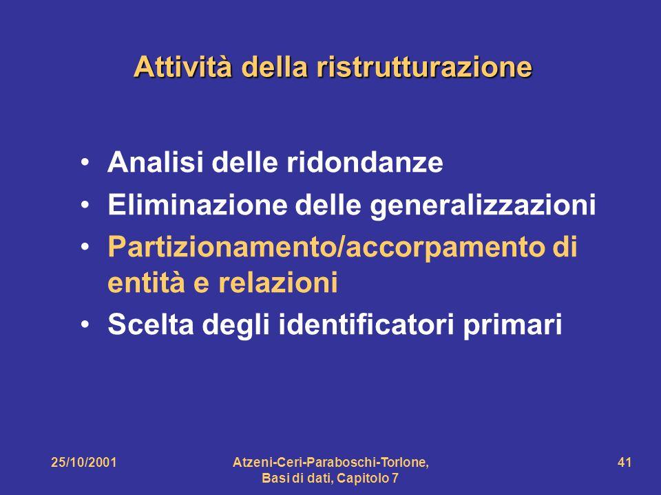 25/10/2001Atzeni-Ceri-Paraboschi-Torlone, Basi di dati, Capitolo 7 41 Attività della ristrutturazione Analisi delle ridondanze Eliminazione delle gene