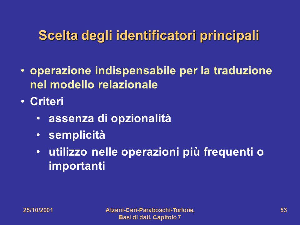 25/10/2001Atzeni-Ceri-Paraboschi-Torlone, Basi di dati, Capitolo 7 53 Scelta degli identificatori principali operazione indispensabile per la traduzio