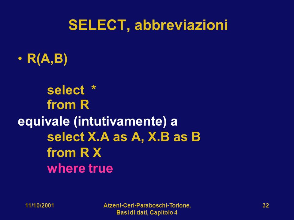 11/10/2001Atzeni-Ceri-Paraboschi-Torlone, Basi di dati, Capitolo 4 32 SELECT, abbreviazioni R(A,B) select * from R equivale (intutivamente) a select X.A as A, X.B as B from R X where true