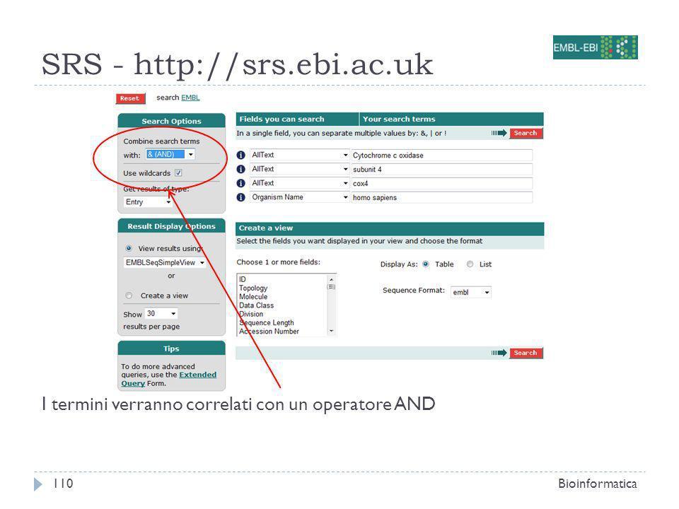 SRS - http://srs.ebi.ac.uk Bioinformatica110 I termini verranno correlati con un operatore AND